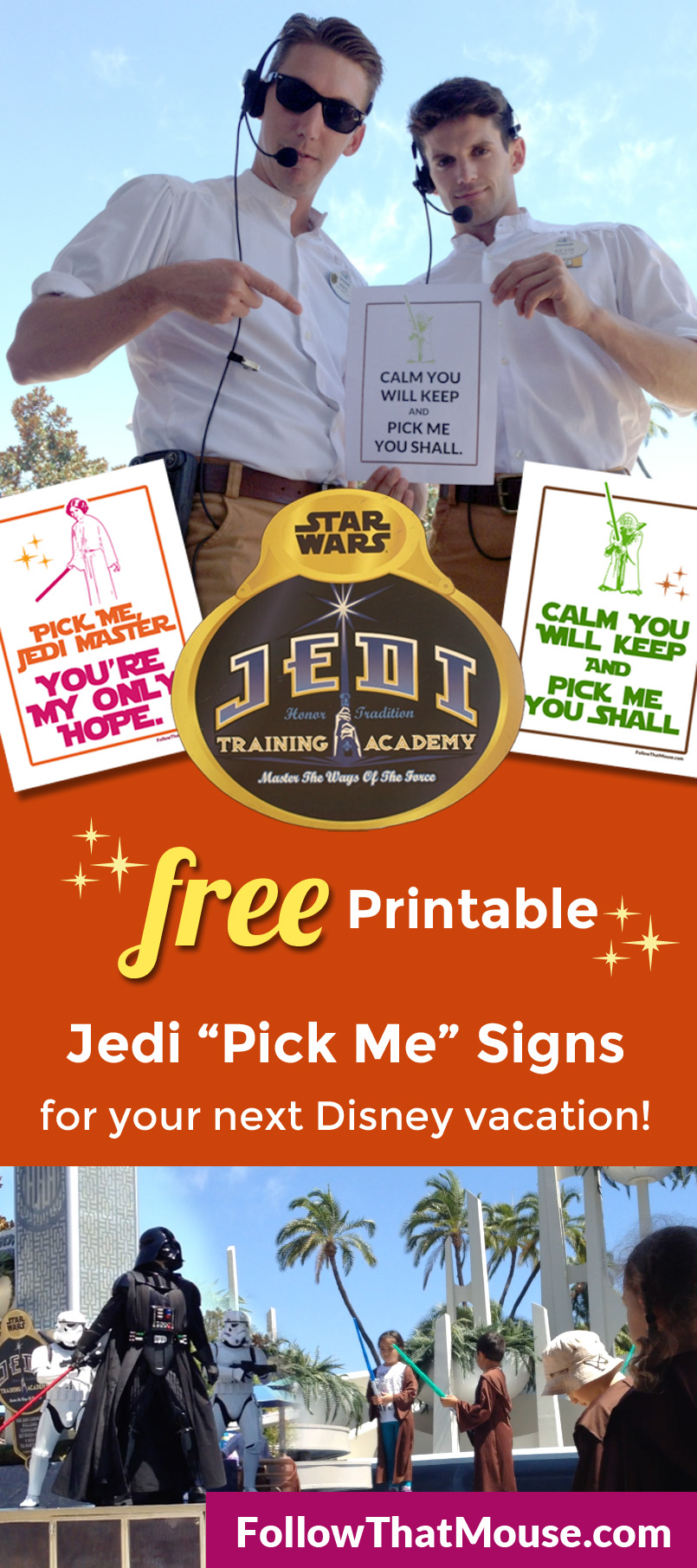 Jedi Training Academy Printable Pick Me Signs for Disneyland